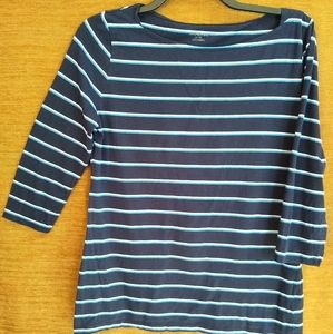 3/4 Sleeve Blue Striped Top